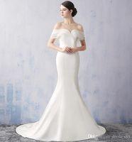 maxi elbise modern toptan satış-Beyaz Ucuz Maxi Dressses Zarif Şarap Gelinlik Modelleri Straplez Organze Ruffles Mermaid Abiye Örgün Yüksek Kaliteli Abiye giyim