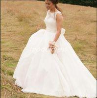 Wholesale model simple ribbon bow resale online - 2019 Simple Wedding Dresses Jewel Sweep Train Bow Ribbon Garden Country Charming Bridal Gowns robe de mariée Plus Size Cheap