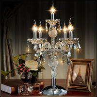 Wholesale bedding room wedding for sale - Group buy European fashion lights candle crystal table lamp bedroom lamp cognic color E14 E12 K9 crystal deak Table light home Wedding decor
