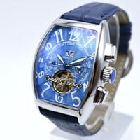mekanik askeri saatler toptan satış-Satışa lüks otomatik mekanik hollow deri erkek saatler moda gün tarih askeri tourbillon İskelet erkekler elbise tasarımcısı saatler