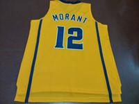 kundenspezifische jersey-stickerei großhandel-Männer Gelb Weiß Ja Morant # 12 Murray State College Echte Stickerei Jersey Größe S-4XL oder benutzerdefinierte jeden Namen oder Nummer Jersey