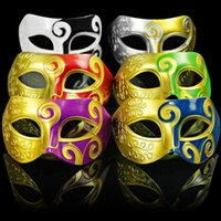Wholesale assorted masquerade masks resale online - Retro Roman Gladiator Halloween Party Facial Masquerade Mask Venetian Dance Party Mask Men Mask Assorted Colour LX2130