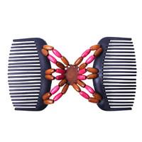 ingrosso forcella in rilievo-2019 Perfect Magic Retro Double Beaded Hair Magic Comb Clip Beads Elasticità Tornante Capelli elastici Accessori per pettini