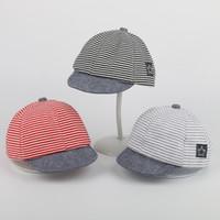 baskenmützen für mädchen groihandel-Baby Sommerhüte Lässige Gestreifte Eaves Baseballmütze Baumwollkappen Jungen Mädchen Barett Sonnenhut 5 Farben