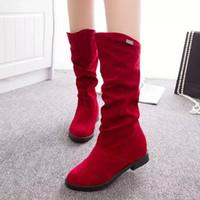 botas altas negras para niñas al por mayor-2018 Nuevas botas de invierno de moda para mujer Botas cálidas para niñas Zapatos de cabeza redonda Tacón alto áspero Negro Tamaño grande