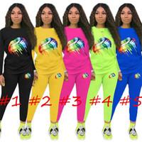 dudak kazakları toptan satış-Büyük Dudaklar Baskı Kadınlar Tasarımcı Eşofman Bahar Sonbahar Uzun Kollu Şeker Renk Kazak Hoodie kazak Pantolon 2 Parça Kıyafet Sweatsuit C8804
