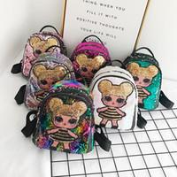 desenhos animados da menina bolsas venda por atacado-Lantejoula Crianças Brinquedos designer de lol bonecas Mochila meninas sacos de armazenamento dos desenhos animados Mochilas hop-bolso presentes de natal sacos de brinquedo LOL