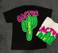 algodão scott venda por atacado-2019 NOVO TRAVIS SCOTT turnê Astroworld cactus jack Letra T shirt anjos da palma do hip hop skate homens mulheres de manga curta camiseta de algodão s-xl