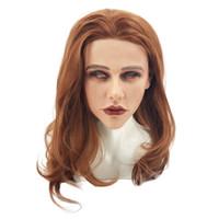 máscara cosplay feminina venda por atacado-Realistic Cosplay Party Halloween Costume Maravilhoso Mulher Bonita Máscara Feminina de Silicone Sexy Mulheres Máscara De Silicone Feminina