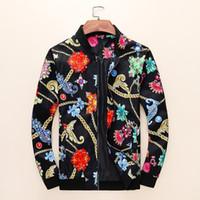 örme kumaş çiçek toptan satış-Yeni erkek Ceket moda üst Renkli çiçek baskı Örgü Kumaş Göğüs Nakış Desen Dekorasyon M-3XLat
