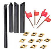 karbid einlegen großhandel-10pcs Carbide Insert Blades mit 4 Stück SCLCR Bohrstange Werkzeughalter mit 4ST Schlüssel für Drehwerkzeuge Drehen DCMT0702