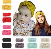 Wholesale handmade crochet headbands resale online - Parent child suit Solid Big Bow Knit Wool Headband Earmuffs Fashion Girl women Warm Woolen Crochet Turban Handmade Bow Knot Wide Head Wrap