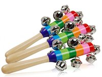 ingrosso giocattoli di attività dei bambini-Giocattoli del bambino di DHL Arcobaleno di crepitio con gli strumenti musicali di Bell Orff Giocattoli educativi di legno Carrozzina della carrozzina Maniglia l'agitatore del bastone di Bell di attività
