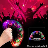 Wholesale toy tambourines for sale - Group buy LED Colorful Flashing Wedding Show Tambourine lX Light Sway Child Party Favors Baby Rattle Toy Glow Handbell Decoration Supplies