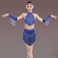 latin dance fashion costumes venda por atacado-Crianças meninas de dança latina desfile de desgaste latina trajes de lantejoulas moda borla