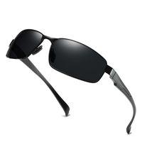 lunette soleil güneş gözlüğü toptan satış-2019 Yarı Çerçevesiz Polarize Güneş Erkekler Ayna Sürüş Güneş Gözlükleri Yüksek Kalite Retro Lunette De Soleil Homme Erkekler Gözlük