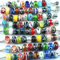 perles intercalaires mixtes européen achat en gros de-Perles de verre de Murano Fit Charme européen grand trou Entretoise Perles Mélanger Conception pour Bracelet Fabrication de Bijoux