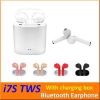 böğürtlen kutuları toptan satış-I7S TWS Kablosuz Bluetooth Kulaklık Kulakiçi Kulaklık Şarj Kutusu ile Ikizler Mini Bluetooth Kulaklık iphone X IOS Android + Perakende kutusu