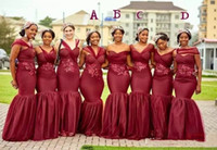Wholesale 2019 Burgundy Cheap Mermaid Bridesmaid Dresses Country Sweetheart Lace Appliques Sweep Train Sheath Plus Size Vestidos Maid of Honor Gowns