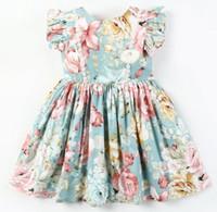 kinder mädchen kleidung design für den sommer großhandel-Exquisite Mädchen Kinder Kleidung Neue Sommer Grün Blumendruck ärmellos mit Spitze Design hochwertige Baumwolle Baby Kinder Prinzessin Kleid