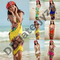 2f3638e3f0992 Women Beach Dress Sexy Sling Beach Wear Dress Sarong Bikini Cover-ups Wrap  Pareo Skirts Towel Open-Back Swimwear