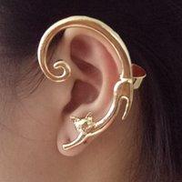 ingrosso gli orecchini del polsino dell'involucro dell'orecchio-1 Pezzo Cute Cat Clip su orecchini orecchini del polsino dell'orecchio per le donne Ear Wrap Earcuff regalo dei monili clip di modo per le donne