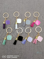 Wholesale customized key chains for sale - Group buy Tassel Keychain cm Key Chains Customized Personalized Monogrammed Quatrefoil Monogrammed Suede Multicolor random Boutique A110402