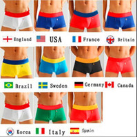 Wholesale Underwear - 11 Countries Underpants Boxers UK USA CANADA Flags Mens Underwears Boxers Color Cotton Underwear For Men