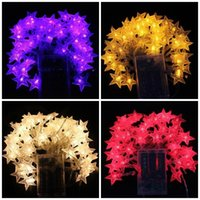 Wholesale led star lights battery resale online - LED Star Lamp String Wedding Decoration Lighting Chains Round Ball Battery Light Plastic Yellow Blue New Arrival yh C1