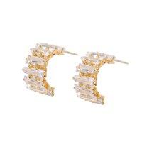 kadınlar için en iyi küpeler toptan satış-Altın Renk CZ Crsytal Küpe Kadınlar için Parti Yarım Yuvarlak Kübik Zirkon Saplama Küpe Best Friend Takı Hediye