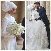 Wholesale long train red dress resale online - Modest Arabic Dubai Lace Wedding Dresses With High Neck Long Sleeves Lace Appliques Floor Length Muslim Wedding Dress Vestidos De Novia