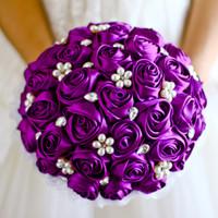 gelin düğün buketi mor toptan satış-Ücretsiz kargo Mor Gül çiçek gelin broş buket Düğün Gelin Takı kristal İnci Rhinestone Bez kumaş Buketleri