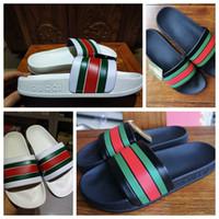 ingrosso scarpe piane gladiatore donne-Pantofole pantofole uomo / donna di alta qualità Pantofole piatte Scarpe firmate Slide Scarpe casual Scarpe indoor Con borsa Taglia: 35-45 di toy99