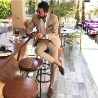 şampanya balo takımları toptan satış-Custom Made Groomsmen Çentik Yaka Damat Smokin Şampanya Erkek Takım Elbise Düğün / Balo İyi Adam Blazer (Ceket + Pantolon + Kravat) A631