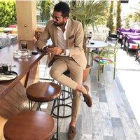 balo için özel blazerler toptan satış-Custom Made Groomsmen Notch Yaka Damat Smokin Şampanya Erkekler Düğün / Balo Suits İyi Adam Blazer (Ceket + Pantolon + Kravat) A631