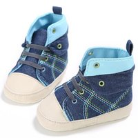 детские туфли на резиновой подошве оптовых-Fashions Baby Boys Shoes Kids Above Ankle Canvas First Walkers Casual Anti-Slip Lace-Up Toddler Sneaker