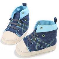 baskets à lacets en toile bébé achat en gros de-Mode Bébé Garçon Chaussures Enfants Au-dessus De La Cheville Toile Premiers Marcheurs Casual Anti-Slip Lac-Up Toddler Sneaker