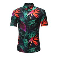 camisas de manga hawaiana al por mayor-Nueva llegada para hombre camisa hawaiana masculina Camisa Masculina hojas impresas camisas de playa de manga corta ropa