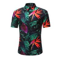kısa kollu hawaiian gömlek toptan satış-Yeni Varış Erkek Hawaii Gömlek Erkek Rahat Camisa Masculina Baskılı Plaj Gömlek Kısa Kollu Giyim Bırakır