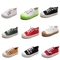 zapatos de lona de los niños de color naranja al por mayor-2020 zapatos de los niños para no Marca de lona para Niños Niñas resbalón en los zapatos ocasionales de la galleta de Whtie Negro Rojo Naranja colores del caramelo 20-31 Estilo 1