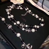 collares largos de oro para mujer al por mayor-Top diseñador de lujo de diamantes collar largo collar de perlas de gama alta importado collar de cristal 18K joyas de broche de oro