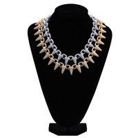 Hip Hop Full Diamond Nail Pendant Necklace Micro Cubic Zirconia Copper Pendant Set Diamond Necklace Miami Cuban link chain