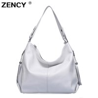 Wholesale first lady handbags resale online - ZENCY Genuine Leather Women Handbag First Layer Cow Leather Long Handle Shoulder Bag Satchel White Silver Gray Pink