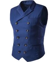 chaleco de algodón de boda para hombres al por mayor-Boutique de los hombres azul real slim fit ocio algodón traje chaleco caballero masculino Beckham negocios chaleco masculino negro boda
