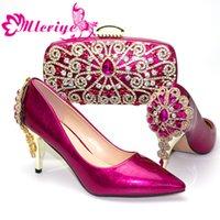 женская обувь оптовых-Новое прибытие Фуксия Цветой Африканская Женщина Совпадение Итальянская обувь и сумка Набор Украшенная с Rhinestone Итальянских женской обувью