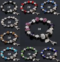 pandora venda por atacado-9 Cores de Moda Murano GlassCristal Europeu Charme Beads Serve Charm pulseiras Pandora Estilo Pulseira de Alta qualidade jóias