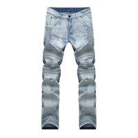 çocuk için açık renkli kot pantolon toptan satış-Skinny Jeans Erkekler Büyük Boy Fermuar Yırtık Açık Renk Ortak Elastik Bel Biker Tüm Sezon Rahat Pantolon