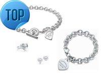 metal harf bilezikleri toptan satış-2019 2019 Yüksek Ünlü tasarım Mektubu 925 Gümüş Yüzük bilezik Küpe kolye Gümüş Metal Kalp şeklinde Mücevherat Seti Ile 3 adet kutu