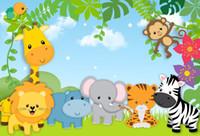 hayvanat bahçesi partisi toptan satış-7x5ft Safari Bebek Hayvanlar Orman Zoo Parti Özel Fotoğraf Stüdyosu Arkaplan Backdrop Vinil 220 cm x 150 cm