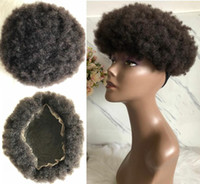 Wholesale black mens hair for sale - Group buy Mens Hairpieces Afro Curl Full Lace Toupee Brown Black Color b Malaysian Virgin Remy Human Hair Mens Toupee Hair Replacement for Black Men